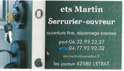 SERRURIER – OUVREUR ETABLISSEMENT MARTIN